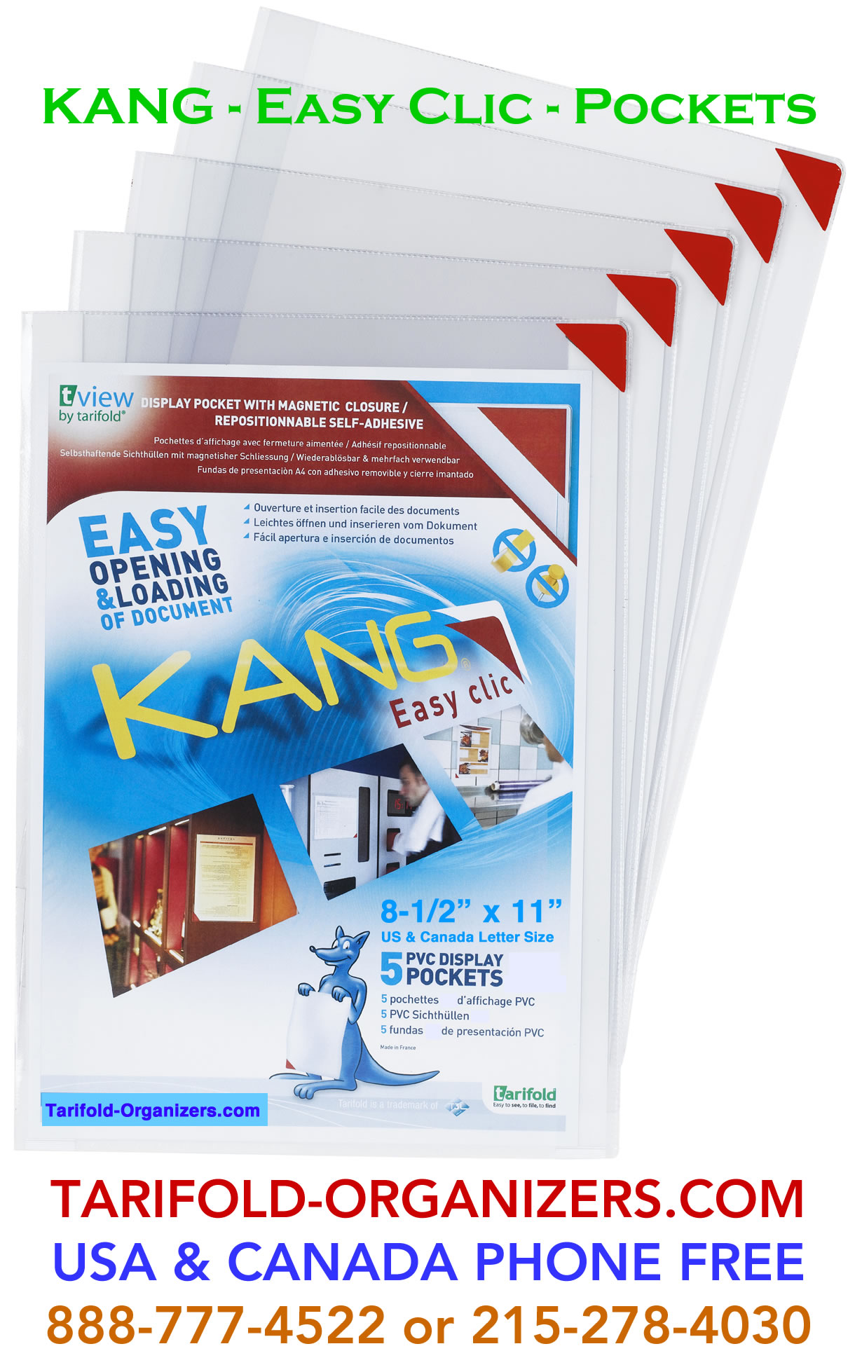 KANG easy clic pockets are in-stock at Tarifold-Organizers.com