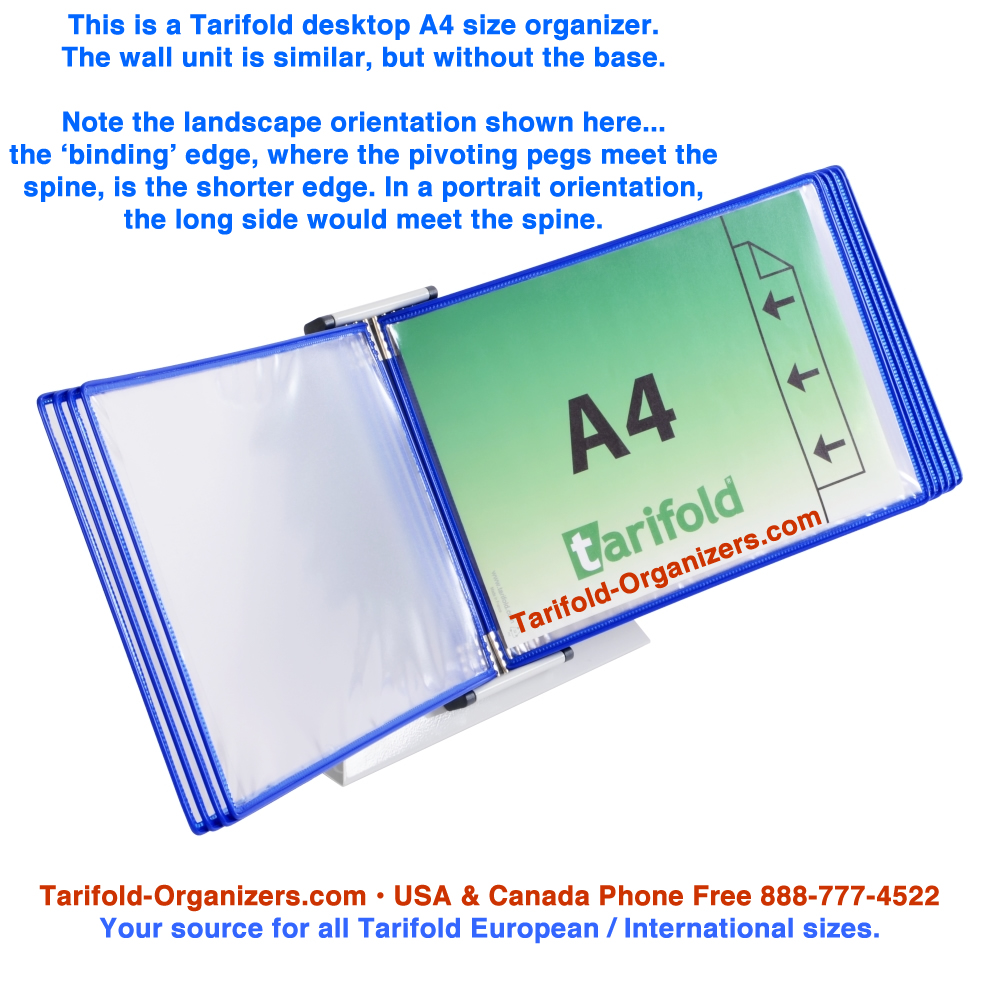 Tarifold European Size Organizers A3 A4 A5 portrait and landscape explained.