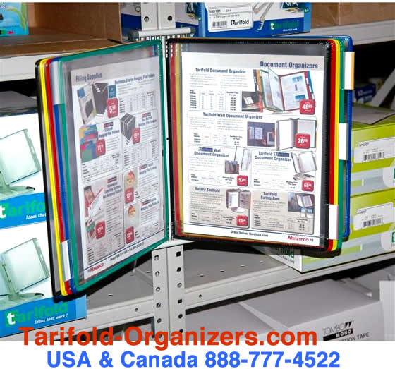 Tarifold magnetic wall organizer in use in a stock-room.