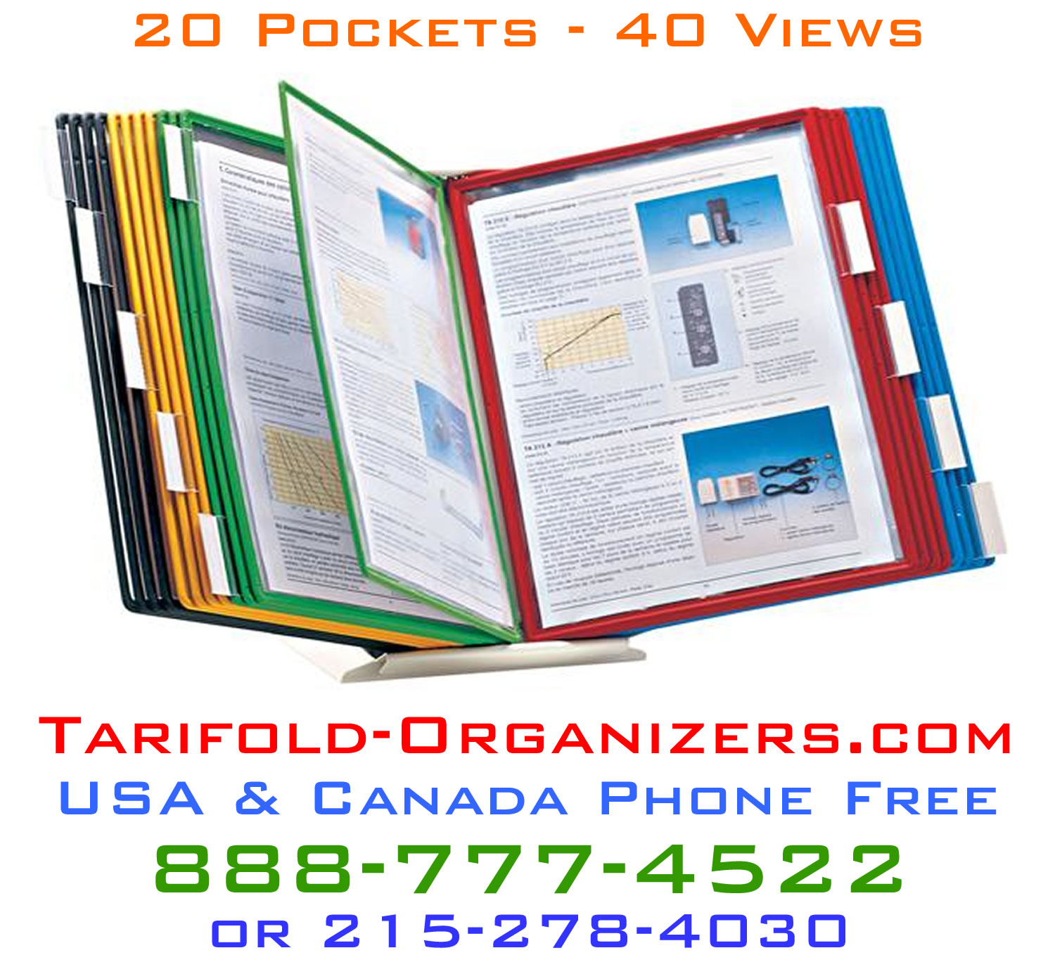 Tarifold desktop organizer for organizing visual graphs, charts and productivity assessments.