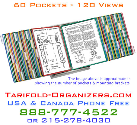 The Tarifold-Orgnanizers.com D296 desktop organizer is the largest capacity desktop organizer available in the United States or Canada.