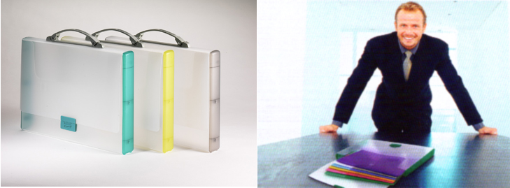 Tarifold translucent briefcases.