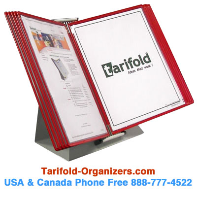 Tarifold desktop organizers can be ordered in all one color. The example shown here is all red tarifold pockets on a desktop display. Tarifold-Organizers.com. 888-777-4522