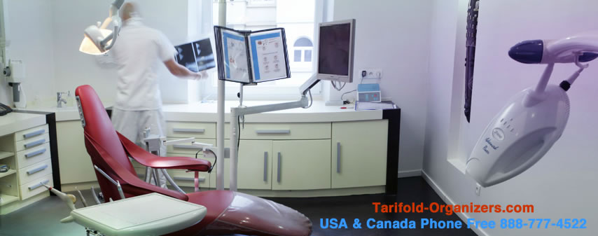 Tarifold organizers in use in dental offices in the USA and Canada.